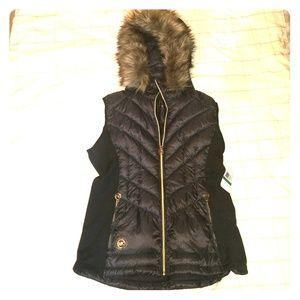 Michael Kors Black down vest with faux fur hood